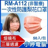 【3期零利率】預購 RM-A112 一次性防護梨花口罩 50入/包 3層過濾 熔噴布 高效隔離汙染 (非醫療)