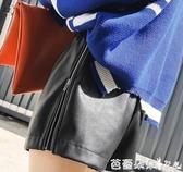 皮褲 黑色高腰短褲工裝皮褲女春季裝新款韓版寬鬆直筒顯瘦寬腿褲子『快速出貨』