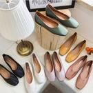 娃娃鞋.日系甜美簡約素面舒適平底包鞋.白...