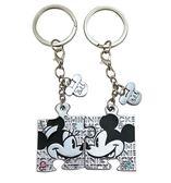 【卡漫城】 米奇 米妮 情侶 鑰匙圈 銀 ㊣版  Mickey Minnie 拼圖 吊飾環 水鑽 迪士尼