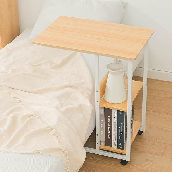 床邊桌 多功能電腦桌-寬60深40高75cm 附層板收納 可移動茶几 懶人桌【A068】