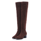 MICHELLE PARK 時髦顯瘦美腿彈力絨質及膝上靴長靴-咖啡色