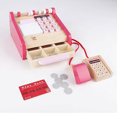 *babygo*Hape愛傑卡角色扮演系列收銀機--粉色限量版●德國品牌●木頭玩具●木製