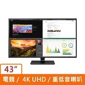 LG 樂金 43型 IPS 4K UHD 低藍光不閃屏 螢幕顯示器 43UN700-B