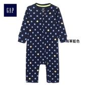 Gap男嬰兒 星星圖案印花長袖一件式包屁衣 402539-海軍藍色