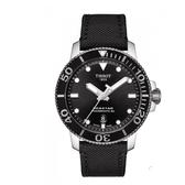 ◆TISSOT◆  新款配色熱賣中  SEASTAR陶瓷錶圈300米尼龍錶帶潛水錶 POWERMATIC 80 T120.407.17.051.00黑x黑