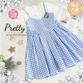 (大童款-女)帆船藍白格紋假2件洋裝(310486)【水娃娃時尚童裝】