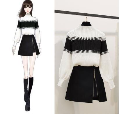 絕版出清 韓國小香風黑白針織不規則套裝長袖裙裝