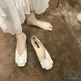 蝴蝶鞋 平底單鞋女2019秋季新款蝴蝶結方扣氣質仙女鞋溫柔風軟底奶