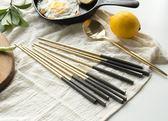 聖誕節狂歡 不銹鋼黑金筷子 食具 韓式筷子 北歐西餐餐具高檔 森活雜貨