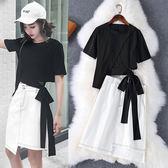 兩件式洋裝日系韓牛仔裙休閒蝴蝶結短袖T恤不規則裙套裝女LS8052904