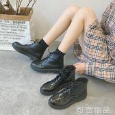 秋季新款黑色機車馬丁靴女英倫風繫帶漆皮粗跟短靴高筒女靴子