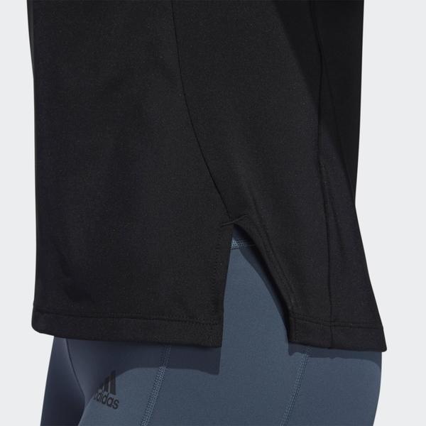 Adidas W GLAM ON BOS 女裝 短袖 T恤 慢跑 訓練 下擺側開衩 後背透明網材 黑【運動世界】FT3067