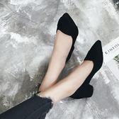秋季尖頭鞋 低跟工作鞋粗跟中跟職業鞋【多多鞋包店】z6392
