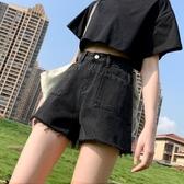 超短褲-小個子牛仔短褲女2020新款黑色高腰顯瘦韓版學生寬鬆闊腿熱褲薄款