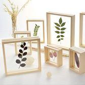玻璃相框擺臺創意透明植物標本框透明實木畫框擺件 全館免運