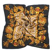 Christian Dior華麗流蘇墜飾方型絲巾(黑色)179017-3