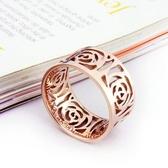 玫瑰金純銀戒指-鏤空玫瑰時尚精美生日母親節禮物女飾品71am7【巴黎精品】