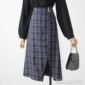 半身裙半身裙秋冬女新款復古顯瘦高腰a字裙鬆緊腰開叉中長款格子裙【凱斯盾】