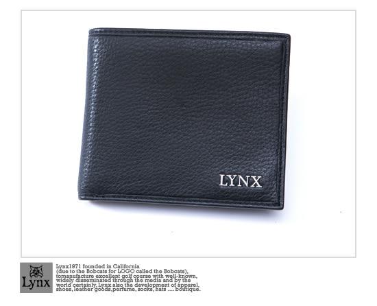 Lynx - 美國山貓紳士真皮款8卡1照上下翻短夾-沉著黑