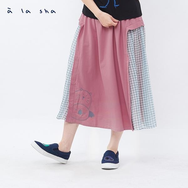 a la sha 雪紡格紋家族跟你SAY HI造型裙
