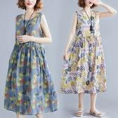 棉綢夏日印花顯瘦背心洋裝-中大尺碼 獨具衣格 J2942