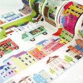 紙膠帶│PVC膠帶│寬版和紙膠帶 夢中的小屋@5米長歐洲彩色屋法國鄉間小屋手撕可寫裝飾手帳