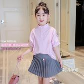 短袖襯衫 2018新品女童洋氣潮夏裝衣服兒童裝女大童襯衣中大童夏季短袖襯衫 2色(一件88折)