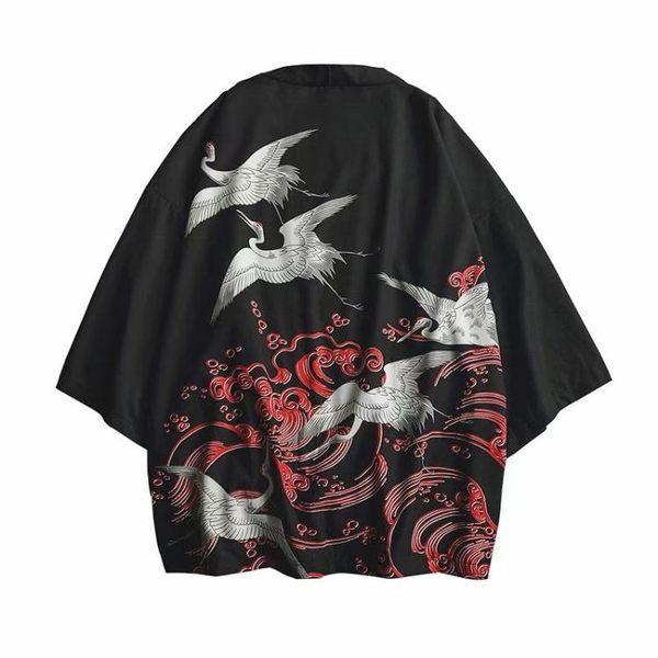 外套—日系復古浮世繪道袍和服男中國風開衫潮流BF風襯衫外套男寬松襯衣 依夏嚴選