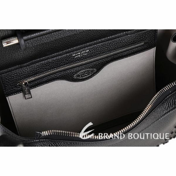 TOD'S Wave 小款 豆豆裝飾牛皮手提肩背包(黑色) 1920290-01
