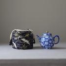 裝茶杯的袋子和風印花加厚棉麻收納