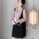 初心 韓系 假兩件 洋裝 【D1612】 蝴蝶結 甜美 格紋 襯衫 拼接 背心裙 洋裝