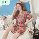 睡衣女夏季純棉短袖短褲日式和服女士家居服薄款大碼寬鬆兩件套裝 限時熱賣