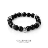 手環   時尚黑色大串珠骷髏頭造型手環手鍊  街頭流行搶眼必備單品【NA268】單條價格