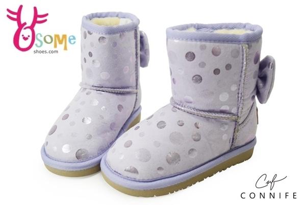 女童雪靴 小童靴 點點造型蝴蝶結 CONNIFE保暖鋪毛短筒靴M8043#紫◆OSOME奧森鞋業