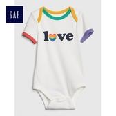Gap男女嬰兒 柔軟印花短袖包屁衣 467035-愛心圖案