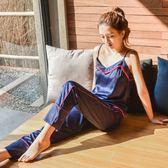 夏季性感絲綢女睡衣兩件套裝歐美時尚休閒家居服冰絲吊帶長褲正韓【鉅惠嚴選】