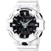 【台南 時代鐘錶 CASIO】G-SHOCK 宏崑公司貨 GA-700-7A 嶄新工業美學 雙顯多功能運動錶