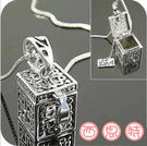 復古亮銀 潘朵拉 魔盒 長款項鍊 毛衣鏈【B4078】