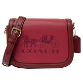 【COACH】新款大馬車牛皮掀蓋斜背包(配色紫紅)
