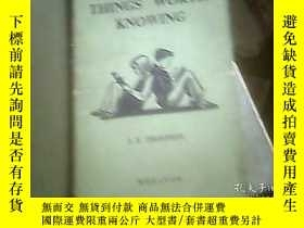 二手書博民逛書店THINGS罕見WORTH KNOWING 值得了解的事情Y24