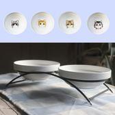 寵物陶瓷貓碗狗碗雙碗套裝配鐵架貓狗食盆雙水碗雙食盆寵物用品  薔薇時尚