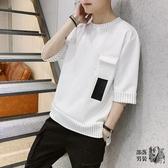 七分袖T恤 七分袖衣服男士韓版潮流夏季工裝短袖T恤學生圓領套頭上衣男潮牌 3色