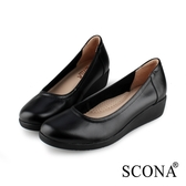 SCONA 蘇格南 全真皮 舒適輕量厚底鞋 黑色 31002-1