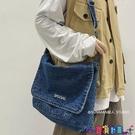 牛仔包 日系斜背包潮牌復古郵差包男休閒簡約大容量牛仔布包女文藝側背包寶貝計畫 上新