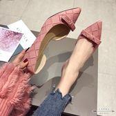 大碼平底鞋 淺口尖頭蝴蝶結低跟女單鞋35-41 - 古梵希鞋包