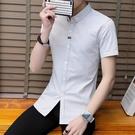 2021夏季新款男士短袖襯衫韓版修身帥氣襯衣潮流百搭條紋上衣夏天 依凡卡時尚