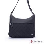 beside u BNUO 菱格紋彎月造型防潑水側背包 – 黑色