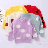 秋冬裝女童加厚仿水貂絨毛衣4兒童裝2-8歲3圓點7寶寶6加絨衣服5
