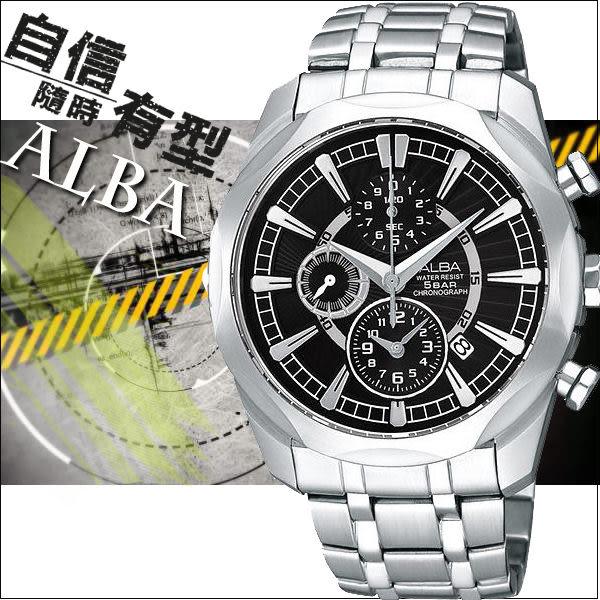 ALBA 風格獨到三眼計時腕錶(黑/38mm) YM92-X148D 國際碼:AF8M39X
